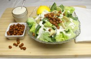 Vegan Caesar Salad with Chickpea Croutons